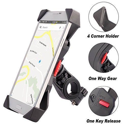 Anti-vibrations Support de Vélo Moto Téléphone Fall Prevention Guidon de Vélo Moto Berceau Collier Avec Rotation 360 Pour 3,5 à 6,3 pouces…