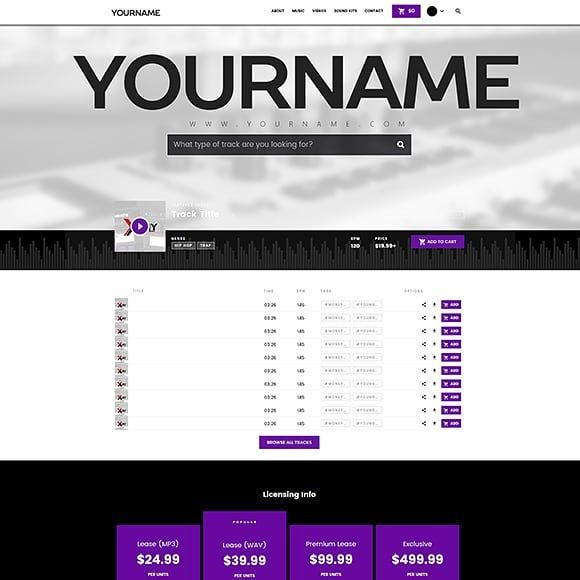 Premade Beatstars Pro Page Layout 057 Visit our Website for