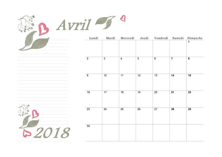 Calendrier avril 2018