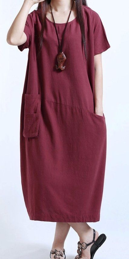 Women loose fit over plus size Bohemian dress long maxi tunic pocket skirt chic #Unbranded #dress #Casual