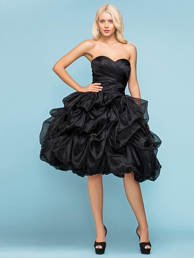 Balklänning Knälång Brudklänning - Svart (färgen kan variera beroende på datorskärm) Älsklingsringning Organza Plusstorlekar - SEK kr1,030