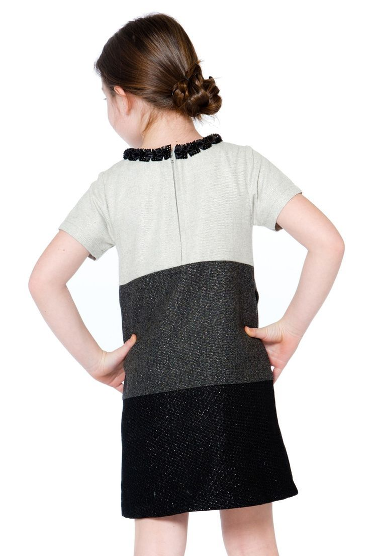 260fd7e7026f She'll want to head to every party wearing the Girls' Night Out A Line Short  Sleeves Dress. In a poly/wool blend with silver lurex, this short sleeve  dress ...