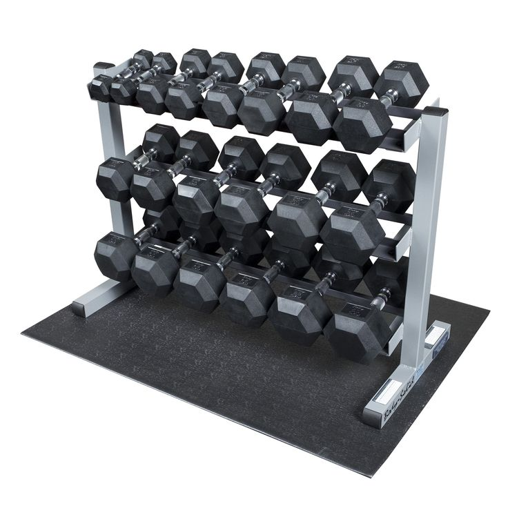 Body Solid GDR363-RFWS Dumbbell Rack with Rubber Dumbbells. Package includes everything you need to train with free weights, including dumbbell rack, set of dumbbells, and rubber mat to place it all on. Rack features three shelves which hold full set of dumbbells, helping keep your workout area organized and safe; measures 40-by-30-by-20 inches (W x H x D). Weights with patent-pending Secure Dumbbell System combine one-piece cast iron heads with steel inserts that have been pinned...