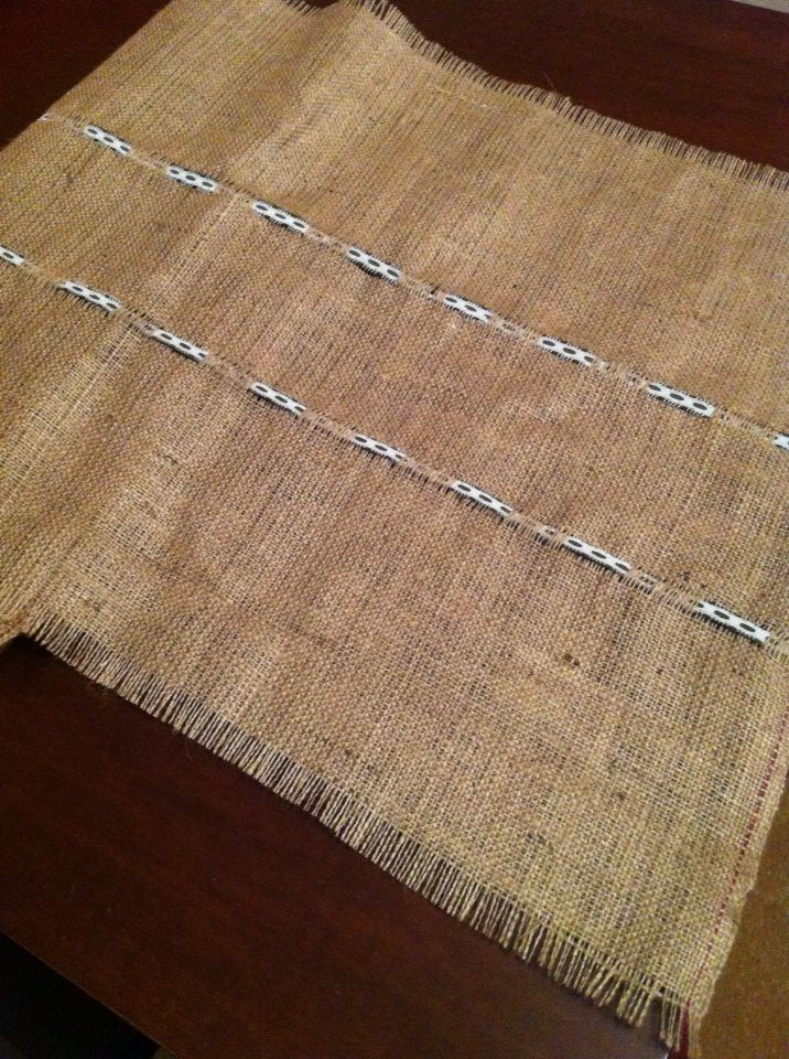 Burlap runner with ribbon and lace