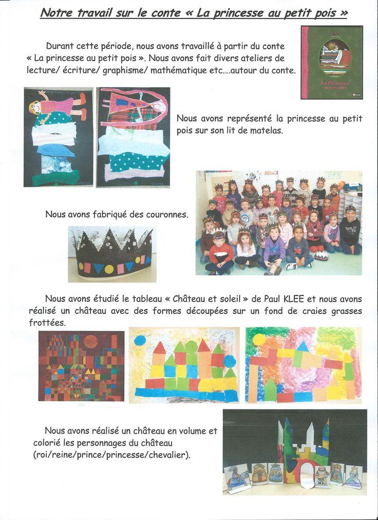 """Ecole Pierre Perret - La Chaize le Vicomte - MS-GS : S. Couteau - travail sur le conte """"La princesse au petit pois"""""""