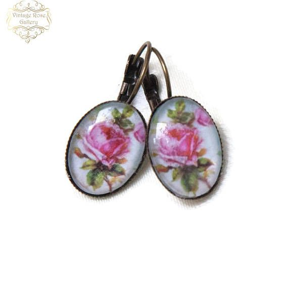 Rose  Earrings SpringEarrings   Vintage Rose Earrings
