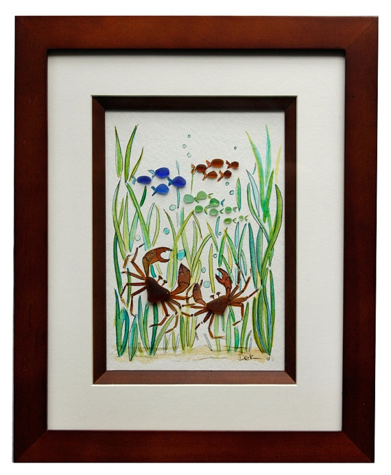 Sea Glass Crabs and fish by RachelDrakeStudio on Etsy, $68.00