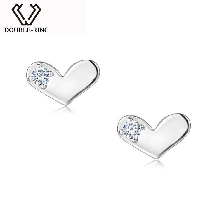 Real Diamond Earrings Studs Women 0.03ct SI1 925 Sterling Silver Heart Stud Earrings Classic Wedding Fine Jewelry CAE01830SA - free shipping worldwide