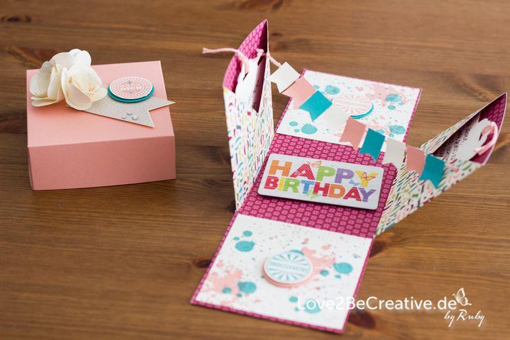 Exploding Box zum Geburtstag / Exploding box as a birthday gift - Love2BeCreative.de - by Ruby Stampin' Up!, Spiral Flower Die, Amazing Birthday, Originals Spiralblume, Geburtstagskracher, Savanne, Bermudablau, Vanille Pur, Gutschein