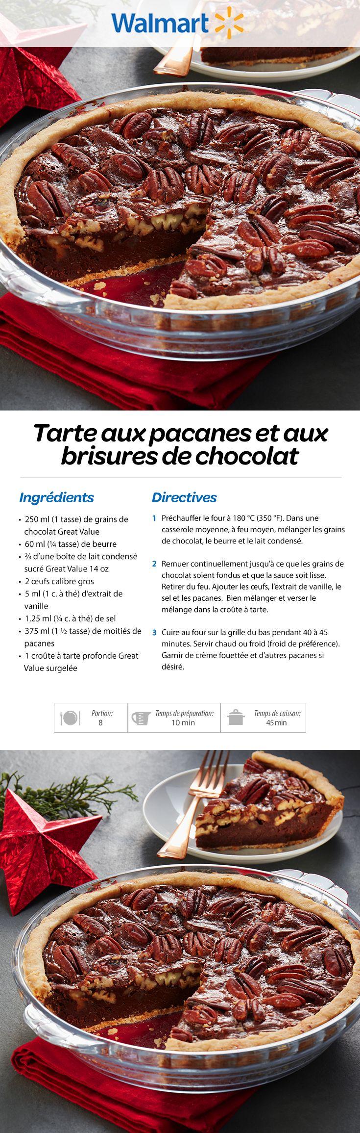 Tarte aux pacanes et aux brisures de chocolat