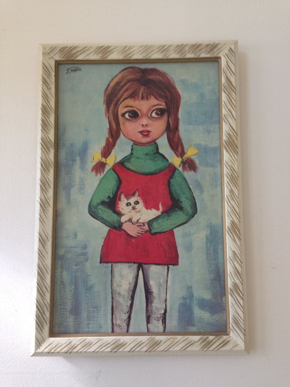 Vintage Little Girl With Kitten Print By T. by QueSeraVintageGoods, $26.50