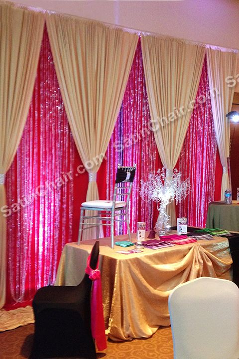 Gold On Red Beaded Backdrop Gold Luxury Linens