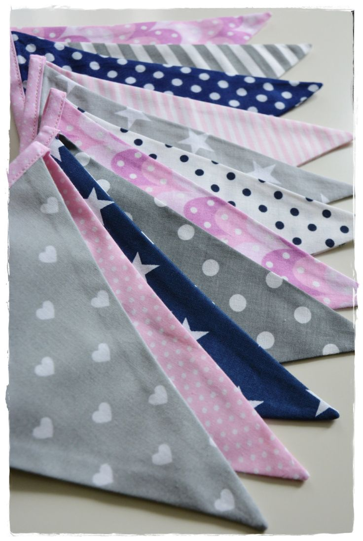 Girl Garland, Bunting Banner, Girl Nursery Decor, Photo Prop, Fabric Flags -pink  navy blue grey stars chevron strips by MadamMirabell on Etsy