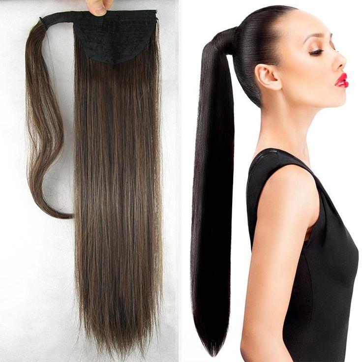 24Inch 10 cores de cabelo Longo e reto EM Rabo de cavalo extensões de cabelo encaracolado Peruca Clipe falso cabelo Rabo de cavalo cavalo cabelo peças