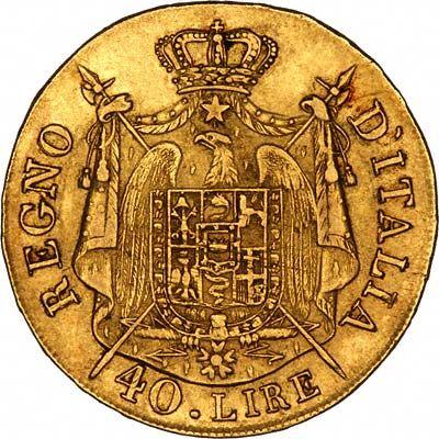 Reverse of 1808 Italian Kingdom Of Napoleon 40 lire Gold Coin