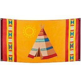 Gevelvlag Indiaan -  Een gevelvlag bedrukt in het themafeest indiaan. Afmeting: 90 x 150cm.