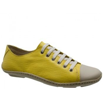 Tênis Feminino DM Confort Couro Amarelo. Biqueira em couro marfim, amarrações com atacadores marfim. Forro em jersei estampado, palmilha alm...