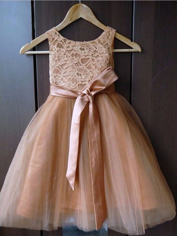A-line Scoop Neck Lace Tulle Ankle-length Sashes / Ribbons New Style Flower Girl Dresses