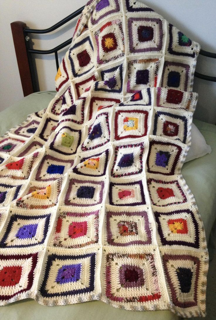 Autumn Hues Granny Square Crochet Blanket by NoonansNook on Etsy