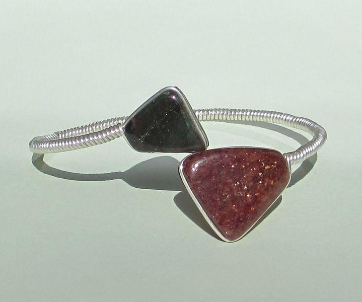 Rode en groene aventurijn armband, sterling zilver van Jewellery by Zilvera - silver, stones and fun op DaWanda.com