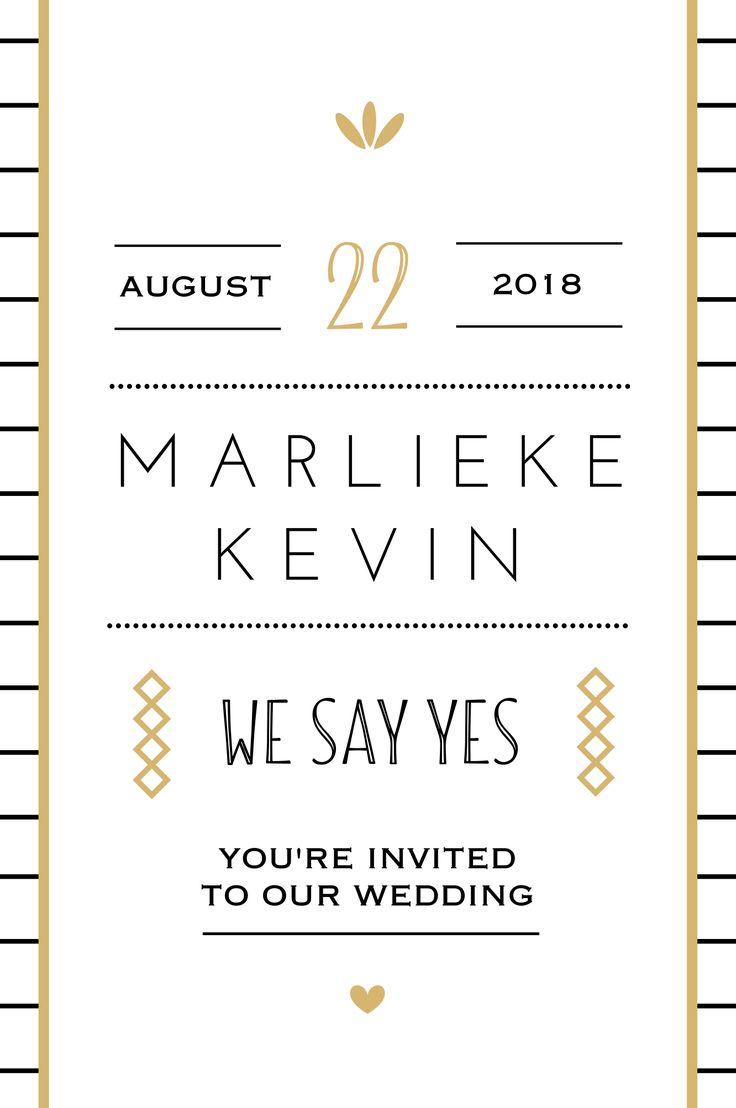 Gouden details staan onwijs chique op een trouwkaart. Wat vind jij?