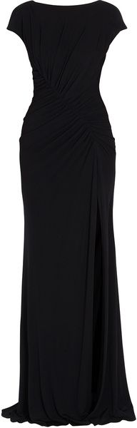 Cap Sleeve Jersey Gown - Lyst.     A black gown epitomizes elegance. I would have layers upon layers of pearl necklaces with this gown.
