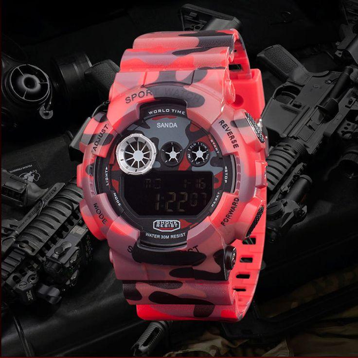 Мода Мужчины Спортивные Часы Цифровые Часы LED Открытый Женщины Наручные Часы Камуфляж Военные Часы