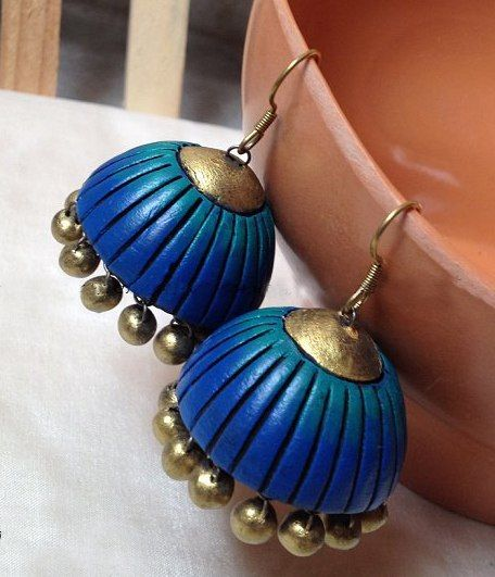 Blue dashing handmade terracotta jewellery ear ring