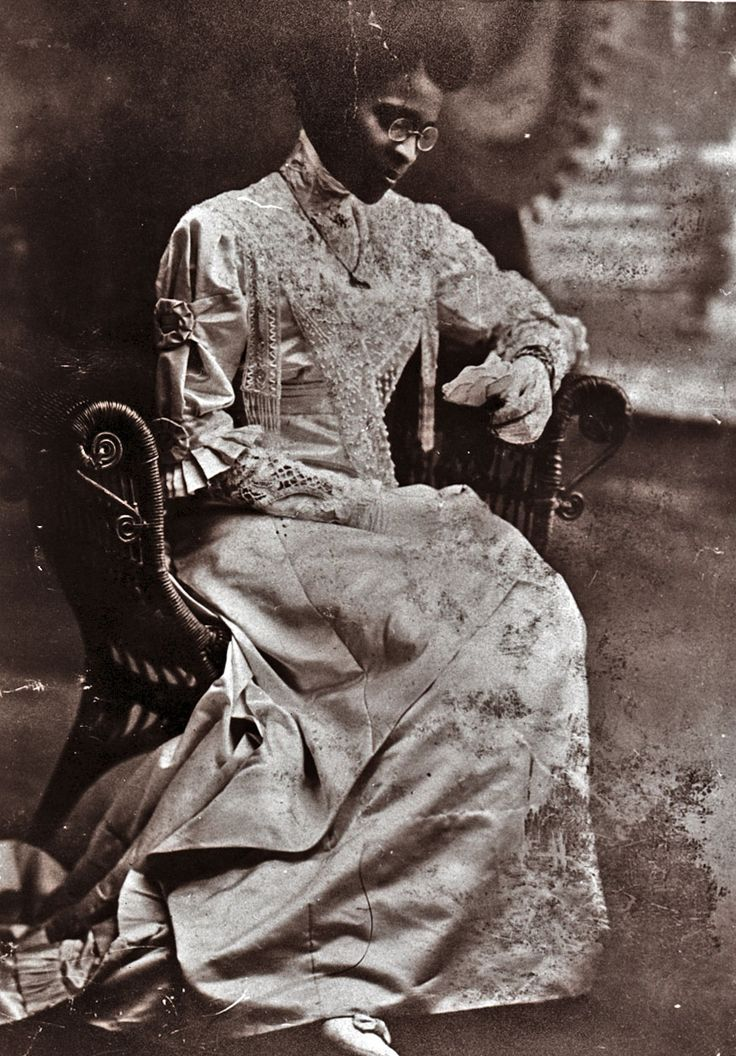 Educator Charlotte Hawkins Brown on her wedding day, 1912. Founder of the Palmer Memorial Institute in North Carolina, Ms. Brown was also a suffragist who worked for black women to have the same rights black men and white women were fighting for in the early 20th century. She was also the great aunt of singer Natalie Cole. In fact, she raised Natalie's mother Maria and her sisters (her brother's children) when their mother died in childbirth.