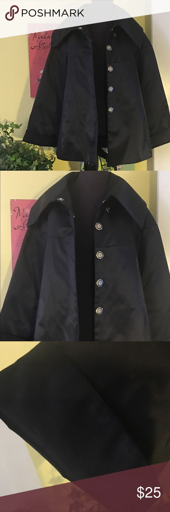KENARD Black fabric jacket with large collar, cuffed sleeves and belt.  Can be worn with the casual outfit or a night on the town with that perfect outfit.  The look of a Short Trench or opera jacket. KENARD Jackets & Coats Trench Coats