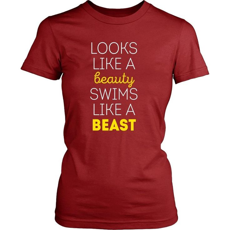 If you are a proud swimmer & love to swim then Looks like a beauty swims like a beast tee or hoodie is for you! Funny Men Women Swimming inspired clothing.