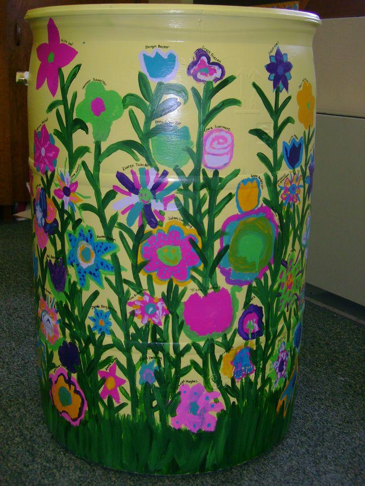 Rain barrel with flowers