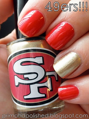 "Of course @Beautisol, LLC loves this 49er #NailPolish! Go Giants!!  We ""heart"" SF! #mani #pedi"