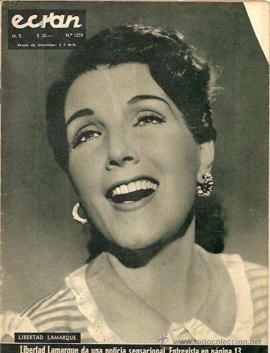 LIBERTAD LAMARQUE REVISTA ECRAN DE CHILE AÑO 1955 REPORTAJE DE 1 PAGINAS...  (Cine - Revistas - Otros)