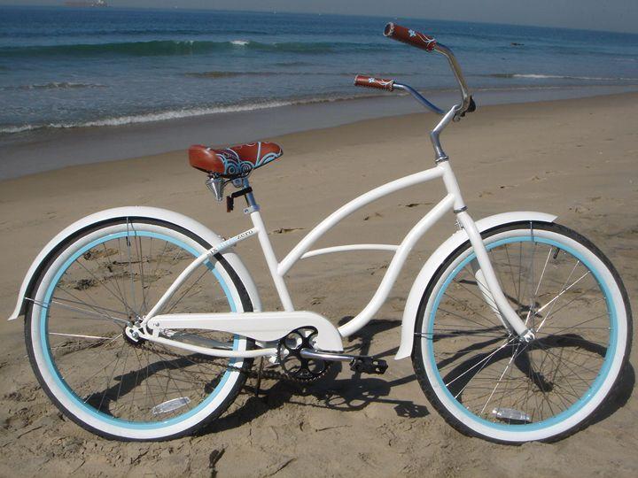 """sixthreezero Womens' BE Single Speed, White w/ Blue - 26"""" Women's Beach Cruiser Bike"""