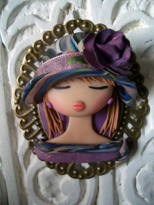 Woman framed with head shot and purple hat