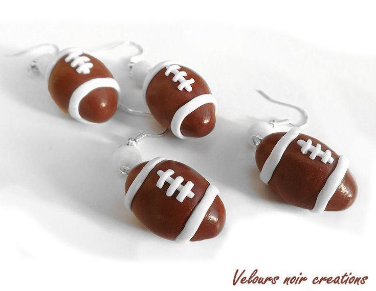 orecchini palla da rugby creati a mano in fimo, by Velours Noir Crèations, 7,00  su misshobby.com