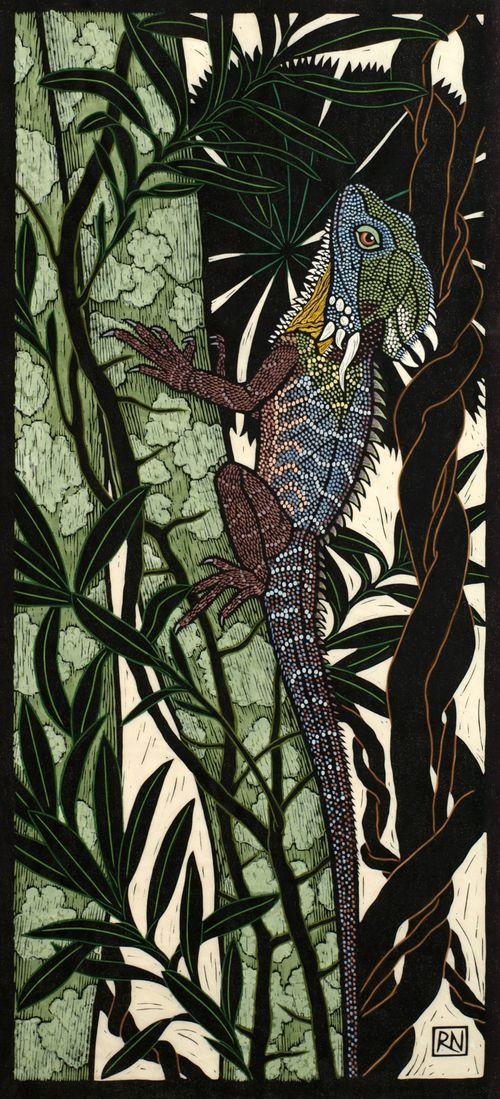 Rainforest Dragon 74.5 x 34 cm Edition of 50 Hand coloured linocut on handmade Japanese paper $1,200