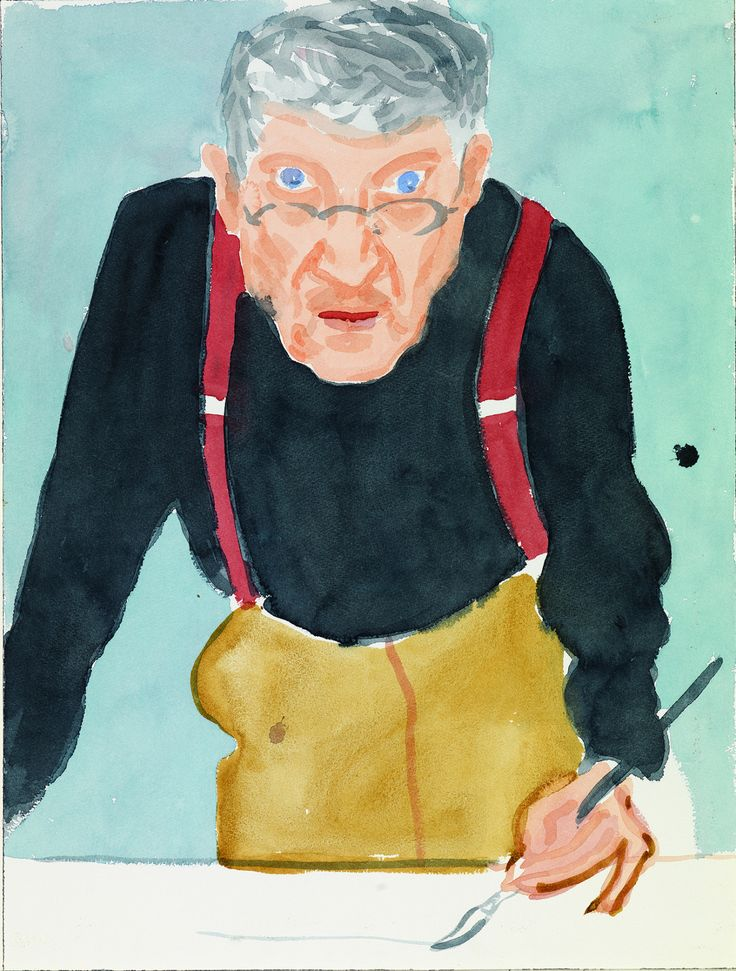 deyoungmuseum:  'Self-Portrait with Red Braces' by David Hockney. Watercolor on paper. 2003. 'David Hockney: A Bigger Exhibition,' de Young Museum, October 26, 2013-January 20, 2014.