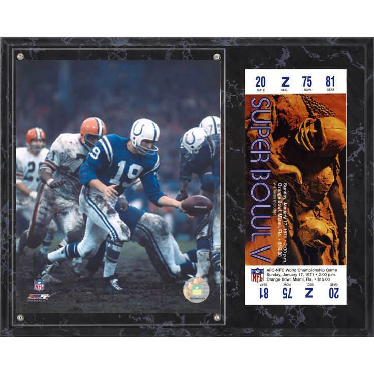 "Johnny Unitas Indianapolis Colts Fanatics Authentic 12"" x 15"" Super Bowl V Sublimated Plaque with Replica Ticket - $39.99"