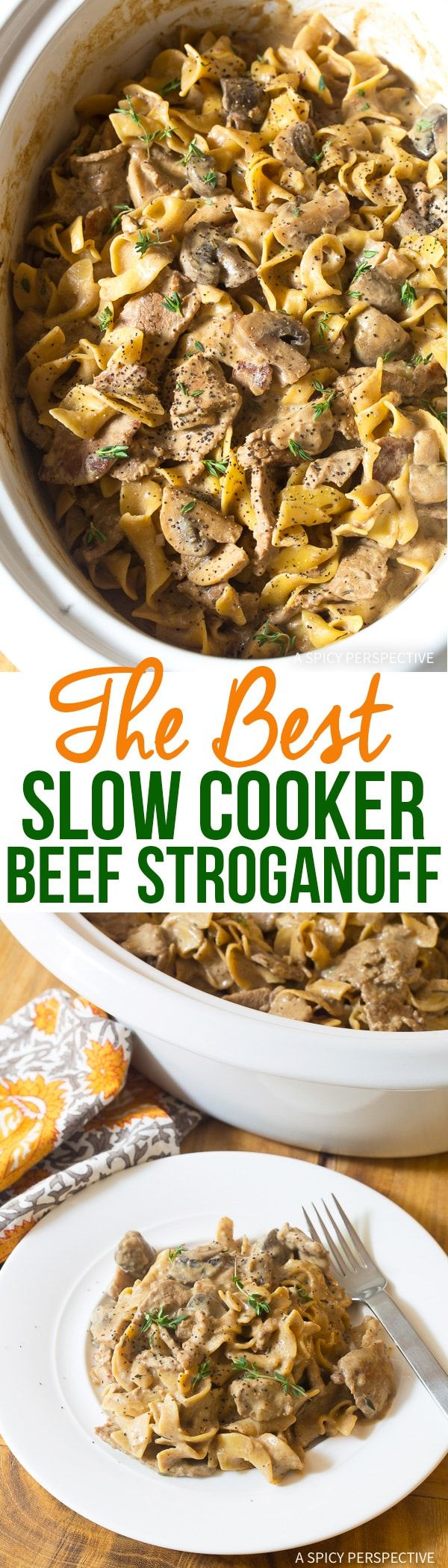 The Best Slow Cooker Beef Stroganoff Recipe - Easy Crock Pot Beef Stroganoff you can make in your Instant Pot or Multi-Cooker. Bold flavor, silky texture! via @spicyperspectiv