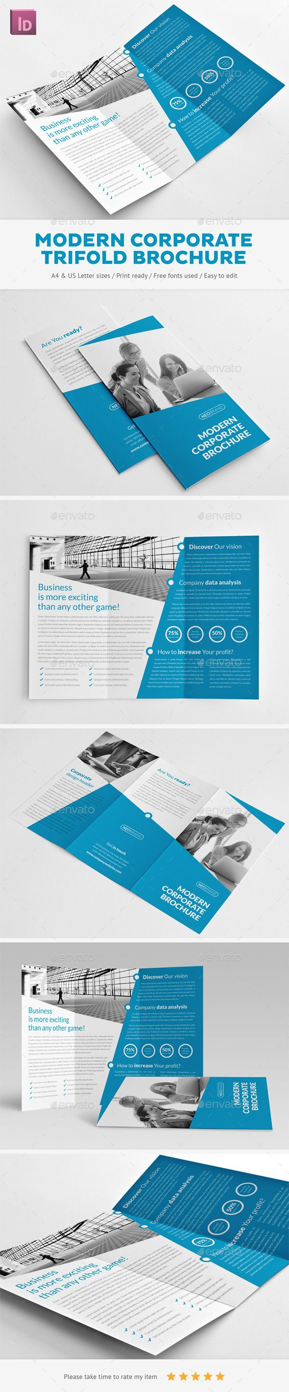 Highly editable trifold InDesign brochure template. Easy to customize with styles and swatches. Clean visual structure and professional typography. Download: http://graphicriver.net/item/modern-corporate-trifold-brochure/11017674?ref=ksioks
