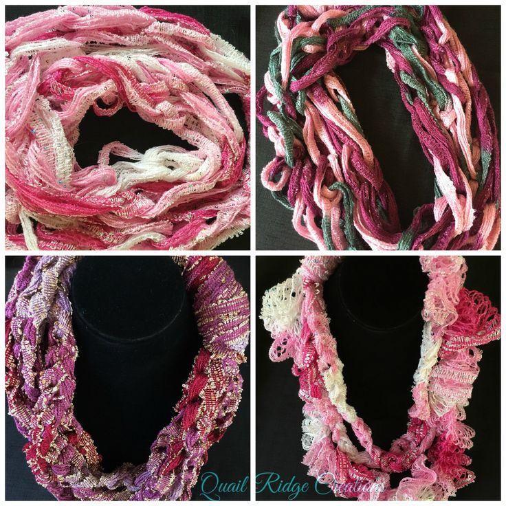 Pink Burgundy Purple Sashay Scarves Arm Knitted