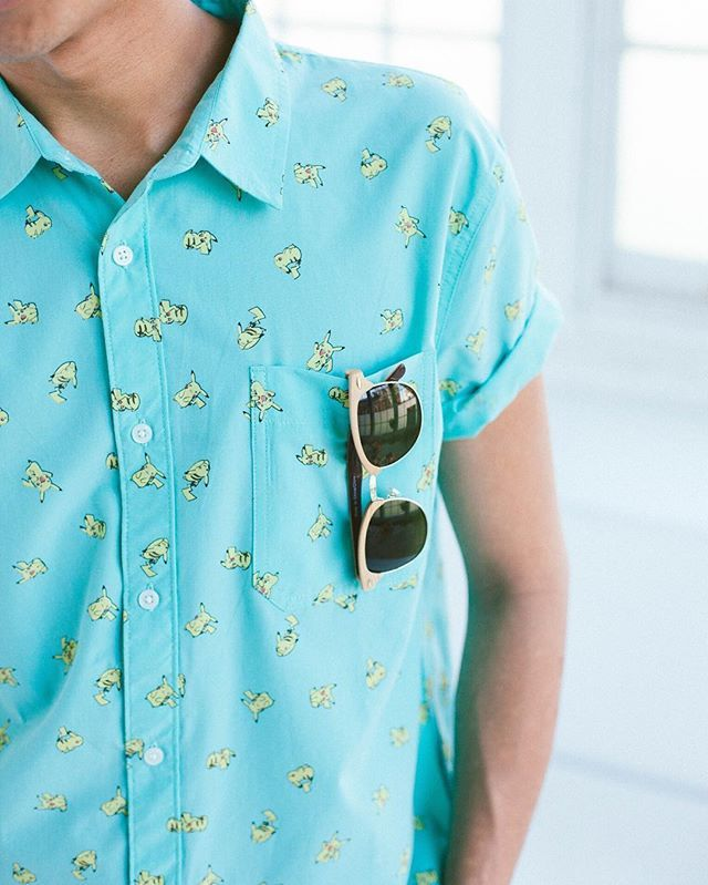Remember a simpler time when there were only 150 Pokemon? Get nostalgic in the Pikachu Print Short-Sleeve Button-Down shirt, online now. @UrbanOutfittersMens #UOMens