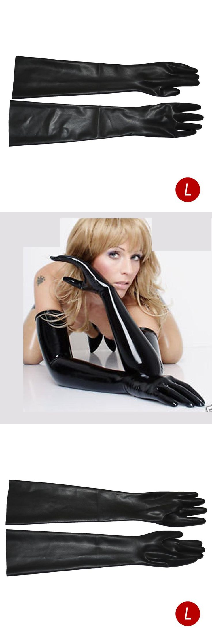 High Quality 3D Mould Black Latex Gloves Latex Very Long Very Long Gloves Fetish Fashion Gloves Size Large