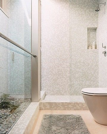 Mosaic Tiles Bathroom.  Clean lines, need a closer look at the window configuation to the left.