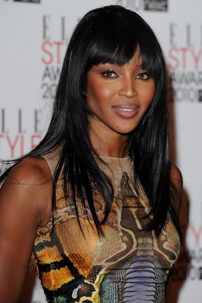 Naomi Campbell Long Straight Cut with Bangs - Naomi showed off her sleek black locks at the ELLE Style Awards. Her blunt cut bangs were the perfect thing to frame her face.
