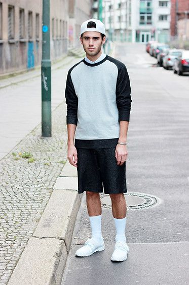 Get this look: http://lb.nu/look/5545825  More looks by Thibaud G.: http://lb.nu/thibaudguyonnet  Items in this look:  Weekday White Ca, Cos Sweater, Cos Shorts, Adidas White Leather Shoes, Cos White Shirt   #berlin #mensfashion #menswear #cos #white #adidas #weekday #cap #socks