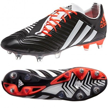 The updated Adidas Predator Incurza XTRX SG Rugby Boots in the latest Black/Running White/Infrared colourway do not let up, no matter your position.