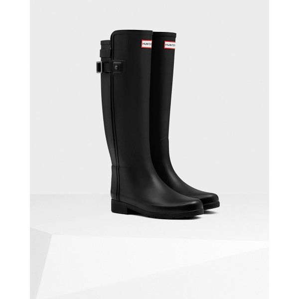 Hunter Women's Original Refined Back Strap Rain Boots Black - Hunter Boots #hunterboots #rainboots #boots #ss17